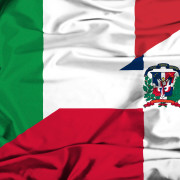 Waving flag of Dominican Republic and Italy